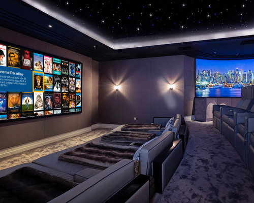 Example Of A Large Trendy Enclosed Carpeted And Gray Floor Home Theater  Design In Berkshire With