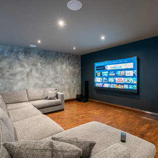 Inspiration for a contemporary home cinema in Buckinghamshire.
