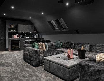 Industrial Cinema Bar for Newly Built Home, Buckinghamshire