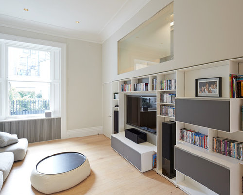 Design Ideas For A Medium Sized Contemporary Enclosed Home Cinema In London  With Grey Walls,