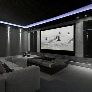 Immagine di un home theatre minimalista