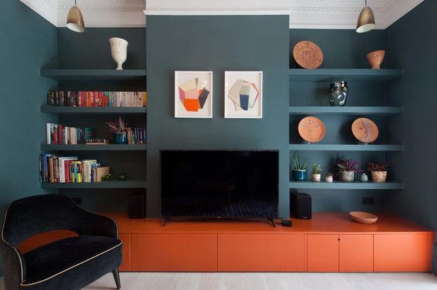 Midcentury Home Cinema by Claudia Dorsch Interior Design Ltd