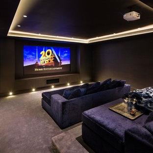 Свежая идея для дизайна: изолированный домашний кинотеатр среднего размера в современном стиле с коричневыми стенами, ковровым покрытием, экраном для проектора и фиолетовым полом - отличное фото интерьера