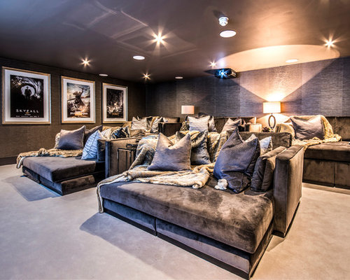 Design Ideas For A Medium Sized Contemporary Enclosed Home Cinema In Surrey  With Grey Walls,