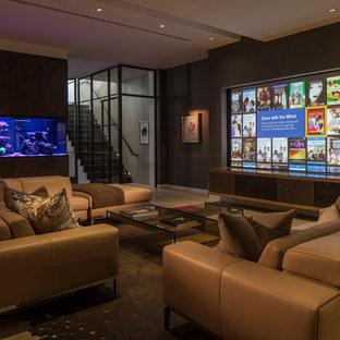 Выдающиеся фото от архитекторов и дизайнеров интерьера: домашний кинотеатр в современном стиле