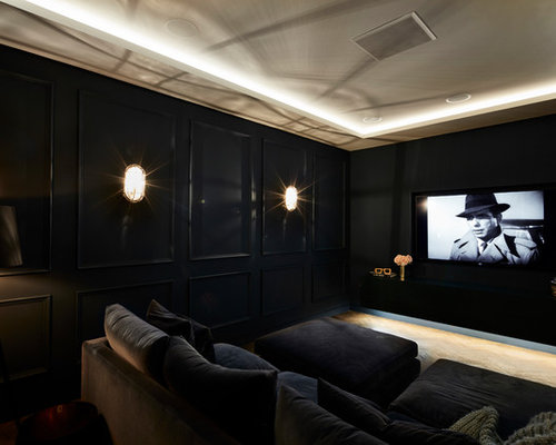 75 Industrial Home Cinema Design Ideas - Stylish Industrial Home ...