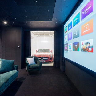 This is an example of a contemporary home cinema in London.