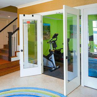 Multifunktionaler, Mittelgroßer Maritimer Fitnessraum mit grüner Wandfarbe in Baltimore