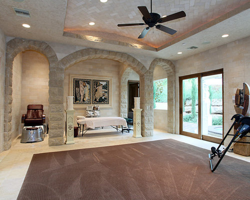 Example Of A Tuscan Multiuse Home Gym Design In Las Vegas With Beige Walls Part 47
