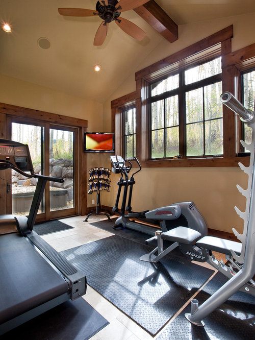 Country Colored Home Gym Design Ideas, Renovations & Photos