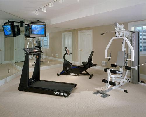 Plafond En Pente Home Gym Design Ideas, Pictures, Remodel & Decor