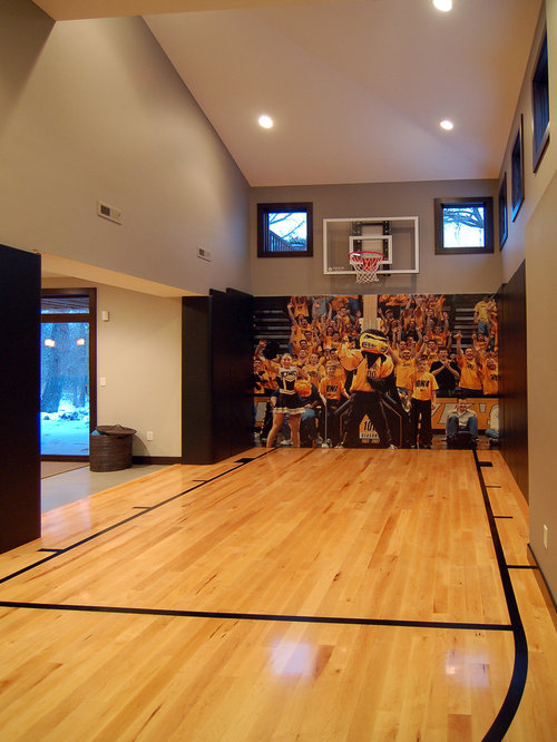 Modern basketball court indoor home design ideas photos for How to build a basketball gym