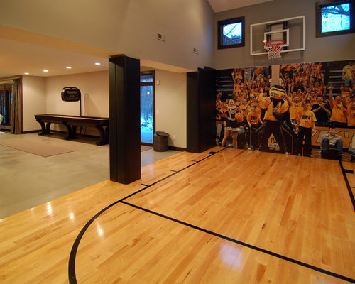 Design Ideas For A Modern Indoor Sport Court In Other With Beige Walls And  Light Hardwood