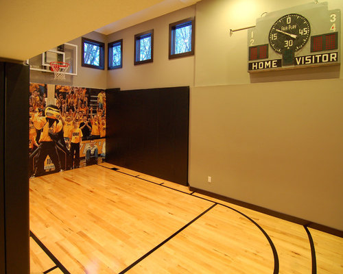 Inspiration for a mid sized modern light wood floor and yellow floor indoor  sport court. Indoor Basketball Court Ideas   Houzz