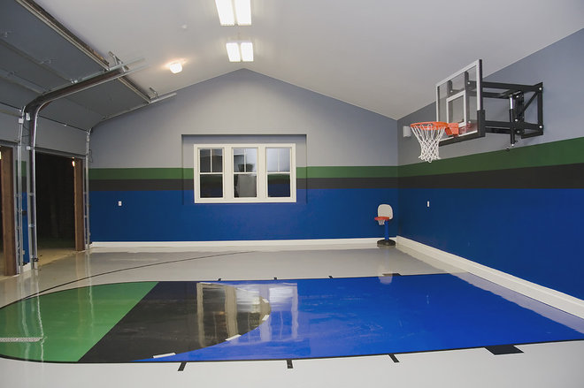 Be a good sport build a backyard basketball court for Basketball garage