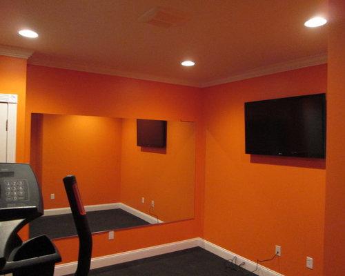 Home Gym Design Ideas Renovations amp Photos With Orange Walls