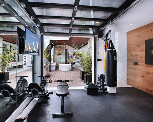 Bon Trendy Black Floor Multiuse Home Gym Photo In Orange County With White Walls