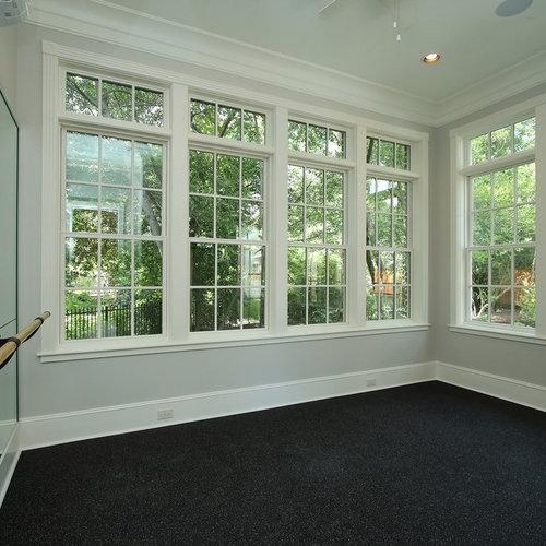 Most popular cork floor multiuse home gym design ideas for