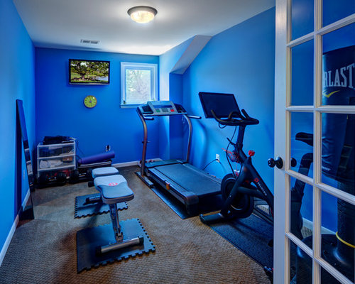 Small Home Gym Design Ideas Renovations Photos With Carpet