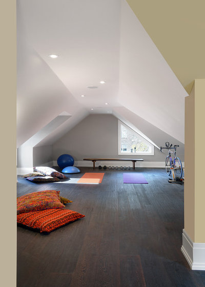 Transitional Home Gym by Geometra Design Ltd.