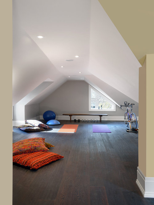 trendy home yoga studio photo in toronto with gray walls and dark hardwood floors - Home Yoga Room Design