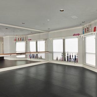 Elegant gray floor home gym photo in Dallas