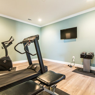 75 beautiful home gym with blue walls pictures  ideas