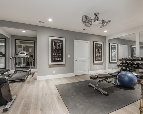 Example Of A Large Classic Light Wood Floor And Beige Floor Multiuse Home  Gym Design In