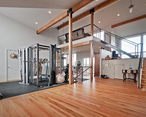 salle de musculation avec un mur blanc photos et id es d co de salles de musculation. Black Bedroom Furniture Sets. Home Design Ideas