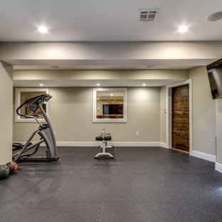 Large arts and crafts home gym in New York.