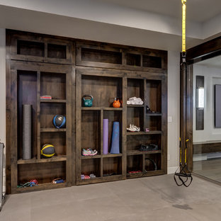 Basement Gym with Hidden Bookcase closed