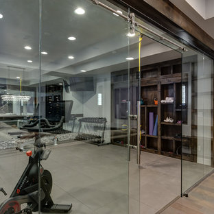 Basement Gym Workout with Glass Walls