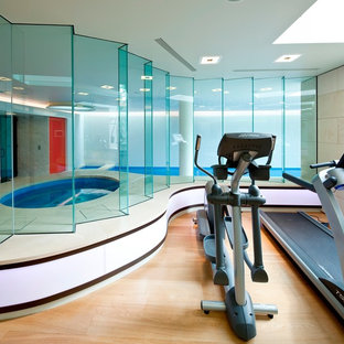 Multiuse home gym - contemporary light wood floor multiuse home gym idea in New York