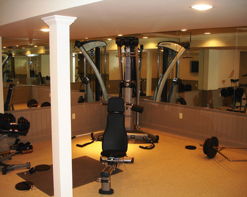 Home gym design ideas renovations photos with carpet