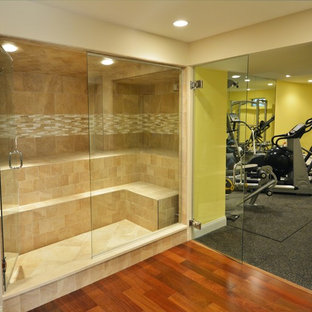 This is an example of a transitional home gym in Boston.
