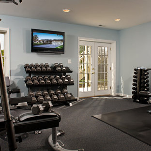 75 most popular home gym with blue walls and carpet design