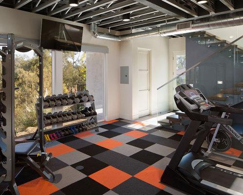 petite salle de musculation moderne photos et id es d co de salles de musculation. Black Bedroom Furniture Sets. Home Design Ideas
