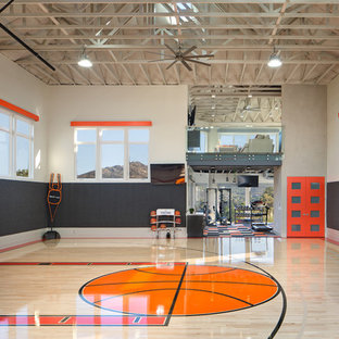 Indoor sport court - large modern light wood floor indoor sport court idea in San Diego with multicolored walls