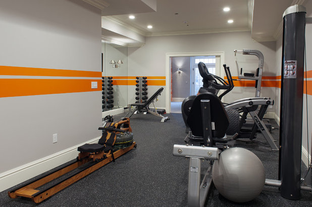 Transitional Home Gym by Sam Allen Interiors