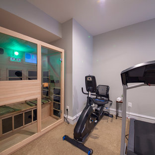 75 most popular large home gym with carpet design ideas