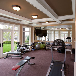 Design ideas for a large traditional multipurpose gym in Seattle with beige walls, carpet and purple floor.