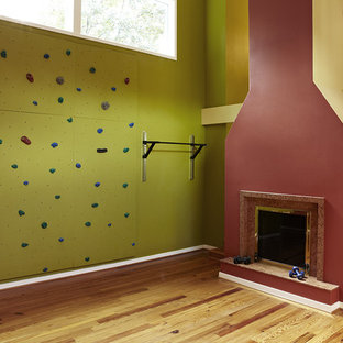 Design ideas for a transitional home climbing wall in DC Metro with multi-coloured walls, light hardwood floors and brown floor.