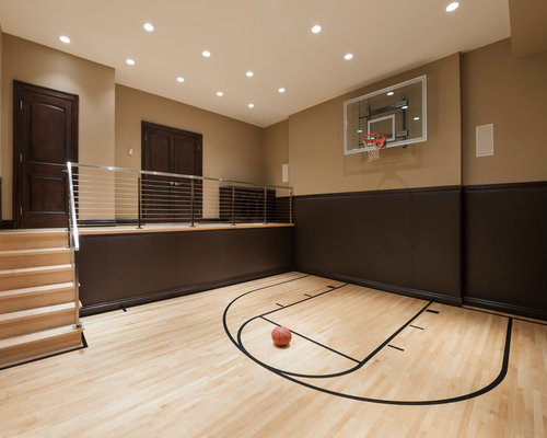Indoor basketball court houzz for Home indoor basketball court cost