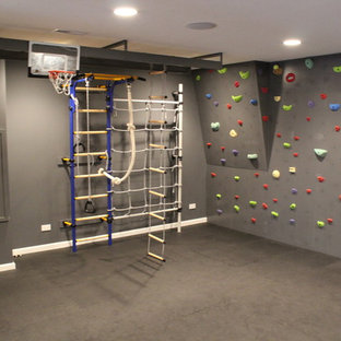Design ideas for a medium sized traditional home climbing wall in Chicago with grey walls and cork flooring.