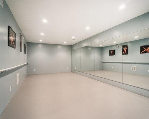 Carpeted Home Yoga Studio Ideas & Design Photos   Houzz