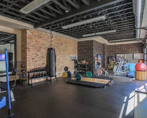 inspiration for a contemporary multiuse home gym remodel in dallas with multicolored walls concrete floors