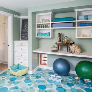 Home gym - traditional blue floor home gym idea in Los Angeles with green walls