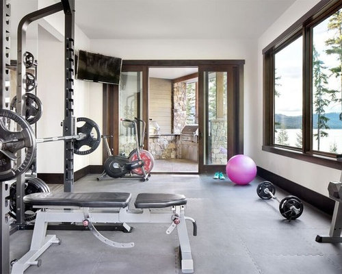 Inspiration For A Mid Sized Rustic Gray Floor Multiuse Home Gym Remodel In  Other With