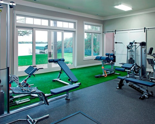 Small home gym design ideas pictures remodel decor - Gimnasio espana industrial ...