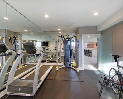 Concrete Floor Home Weight Room Ideas Design Photos Houzz - Weight room design